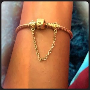 Pandora bracelet and safety chain